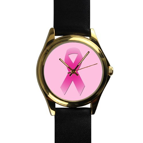 October Breast Cancer Month Pink Ribbon Unisex Silver-tone Round Metal Watch (Awareness Photo Cancer Ribbon Breast)