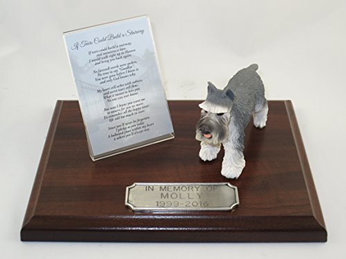Conversation Concepts Beautiful Walnut Finished Personalized Memorial Plaque with Gray Schnauzer Figurine