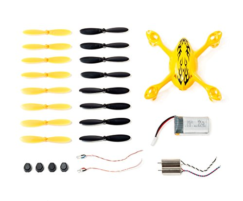 Genuine Hubsan Spare Parts Crash Pack for X4 H107C Quadcopter Drone, Includes Body Shell, 8 Pairs of Yellow and Black Propellers, LiPo Battery, 4x Rubber Feet, 2x Motors, 2x LED Lights