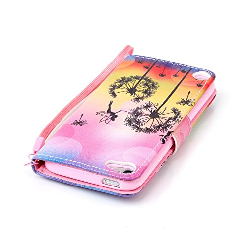 Funda para Apple iPod Touch 5 / 6, iPod Touch 5G Flip Funda de cuero PU Carcasa, iPod Touch 6G billetera Funda Protectora Carcasa, iPod Touch 5 / 6 Leather Wallet Case Cover Skin Shell Carcasa Funda,  abeja