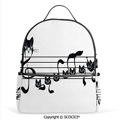 Hot Sale Backpack outdoor travel Notes Kittens Kitty Cat Artwork Notation Tune Children Halloween Stylized,With Water Bottle Pockets]()