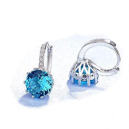 ca80bfcd3 Waymeduo Jewellers 925 Sterling Silver Rhinestones Hoop Stud Earrings for  Women - Light Blue: Amazon.co.uk: DIY & Tools