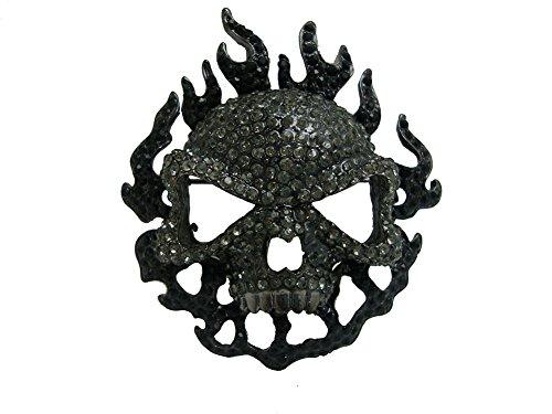 TTjewelry Classical Black Rhinestone Crystal Halloween Skull Pendant Brooch Pin