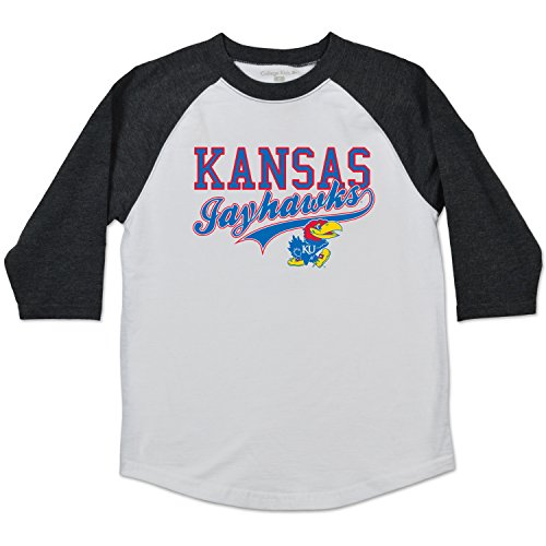 Jayhawk Tee (NCAA Kansas Jayhawks Youth Home Run Raglan Tee, Size 10-12/Medium,)