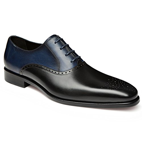 Gifennse Mens Lace Up Oxford Jurk Klassieke Schoenen Zwart En Blauw