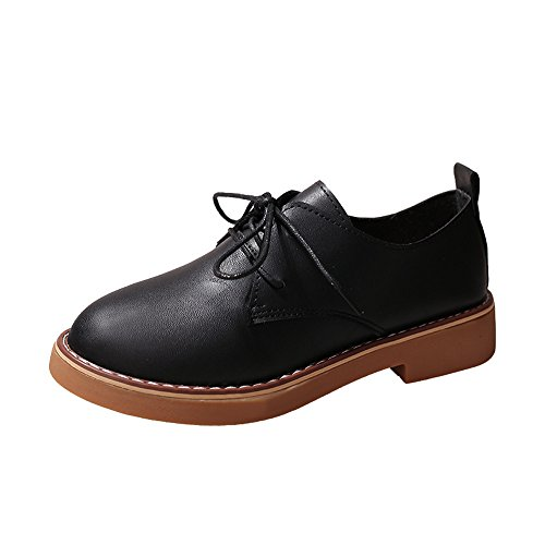 HOSOME Women Leather Shoes Fashion Ankle Flat Oxford Casual Shoes Short Boots Black