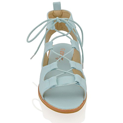 Sandali Piatti Gladiatore Essex Glam Donna Con Lacci In Pelle Sintetica Sandali In Punta Sintetica Blu Pallido