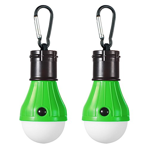 Doukey LED Camping Light, Portable LED Tent Lantern 4 Modes for Backpacking Camping Hiking Fishing Emergency Light Battery Powered Lamp for Outdoor and Indoor, Green, 2 Piece
