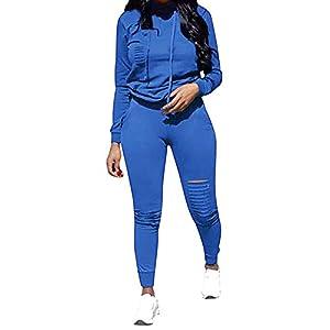 Yesgirl Donna Tuta 2 Pezzi Completi Sportivi da Donna Manica Lunga Tuta da Ginnastica Sportiva Jogging Lungo Pantaloni Vita Alta Felpa con Cappuccio con Zip Coulisse Giacca Set di Abbigliamento