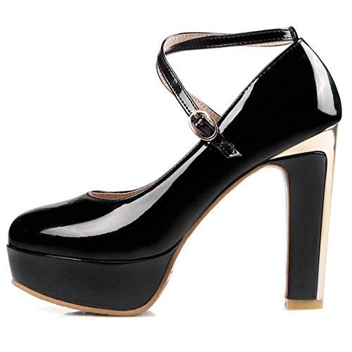 Black TAOFFEN Cross Women Sexy Heel Women Straps Pumps High Pumps zzUwrq