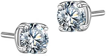 T400 Jewelers White gold plating stud earrings with Swarovski Zirconia for womens