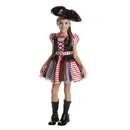High Seas Pirate Costumes (Highs Seas Patchwork Pirate Girl's Costume (Small 4-6))