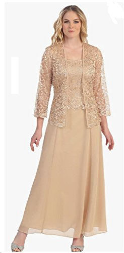 Womens Long Mother of The Bride Evening Formal Lace Dress with Jacket (3X, ()