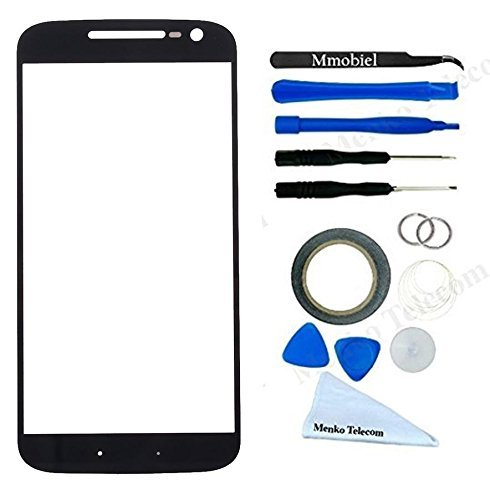MMOBIEL Front Glass for MOTOROLA Moto G4 PLUS XT1643 (Black) Display Touchscreen incl 12 pcs Tool Kit / Pre-cut Sticker / Tweezers / Roll of Adhesive Tape / Suction Cup / Metal Wire / cleaning cloth (Samsung G4 Replacement Screen)