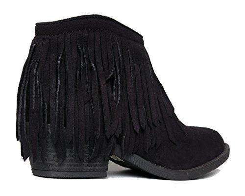 Soda Fringe Ankle Boot - Western Cowgirl geschlossene Toe Bootie - niedrige Ferse beiläufige bequeme Cowboy-gehende Stiefel Schwarzes Wildleder *