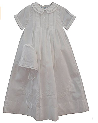 Feltman Brothers Infant Baby Boys White Embroidered Christening Gown Bonnet Set (9M-12M) ()