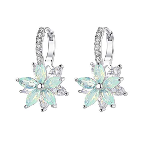CICINIO 14K Cubic Zirconia Sky Blue Rhinestone Flower Stud Earrings, Dangle Hook Earrings Studs Hypoallergenic for Girls Women