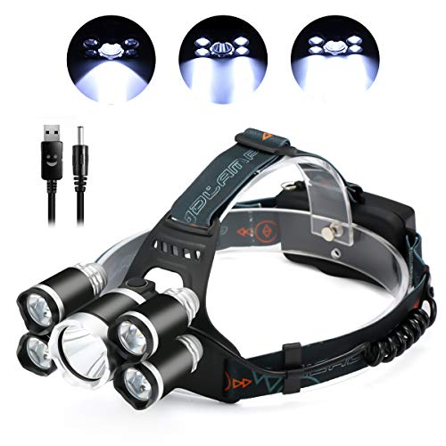(SGODDE LED Headlamp, Super Bright 5 LED 8000 Lumens Headlight - 4 Modes Waterproof Head Torch with Rechargeable Batteries for Outdoor Hiking Camping Hunting Fishing Cycling Runnin Black )
