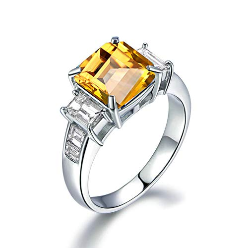 ANAZOZ Square Cut 8X8MM Yellow Citrine Ring Band S925 Sterling Silver Promise Rings Anniversary Wedding Bands for Her Size 4