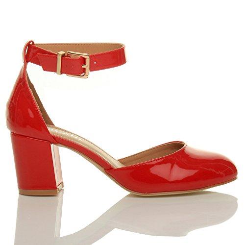 Damen Mitte Blockabsatz Knöchelriemen Schnalle Elegant Pumps Sandalen Größe Rot Lack
