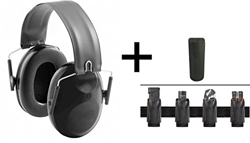Ultimate Arms Gear 22db NRR Noise Reduction Suppressor Earmuffs + HK H&K Heckler Koch Single & Double Stack 9mm .40 S&W .45 ACP Accordion Flexible Belt Clip Pouch Holder Fits Pistol Magazines, Black