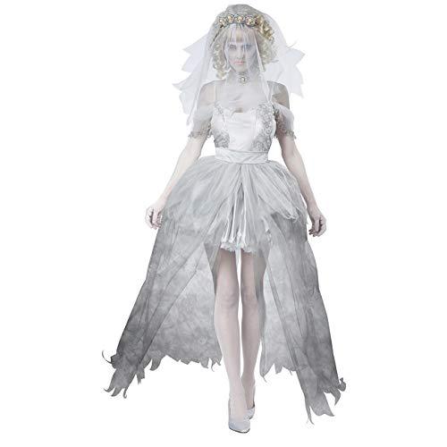 Uheng Women's Halloween Costume Ghost Corpse Bride Zombie Wedding Dress White]()
