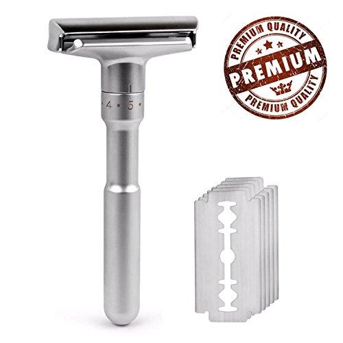 Premium Adjustable Double Edge Safety Razor Classic with 5 pcs Titanium Coated Blades