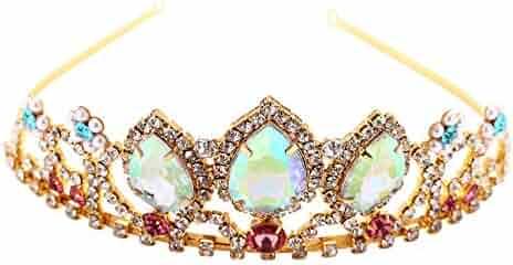 VINJEWELRY Girls Birthday Gift Rapunzel Aurora Borealis Stone Sparkle Gold Tiara Halloween Princess Tangled Costume