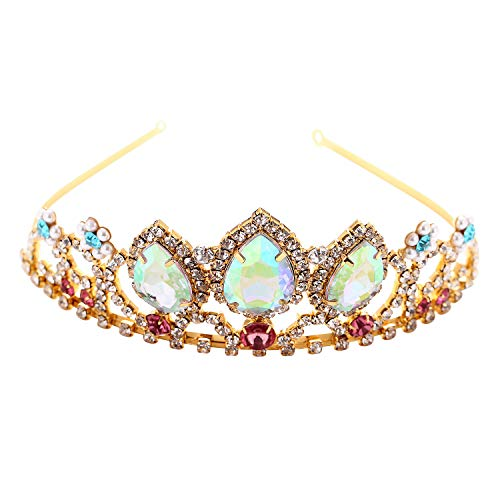 Vinjewelry Girls Birthday Gift Rapunzel Aurora Borealis Stone Sparkle Gold Tiara Halloween Princess Tangled Costume