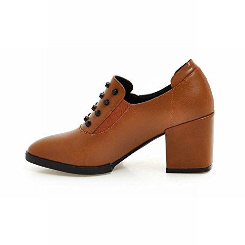 Heel Show Loafers Shine Womens High Chunky Rivets Shoes Fashion Brown Yellow w4Xqx46U