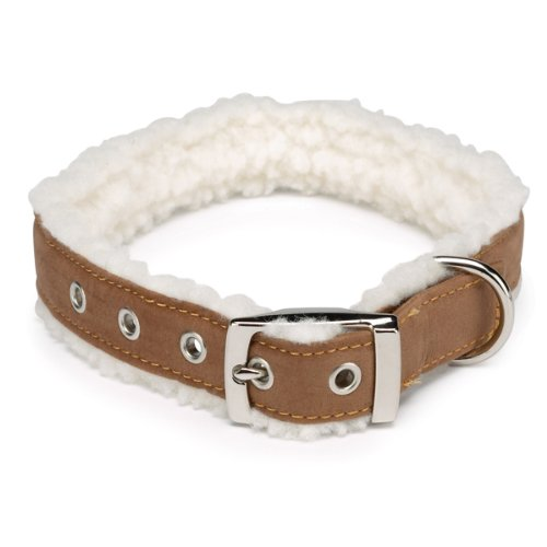East Side Collection Faux Suede Cozy Sherpa Dog Collar, 18 to 22-Inch, Chestnut