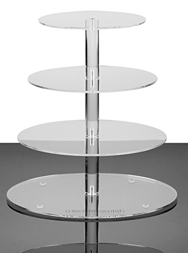 weddingwish 4 Tier Round Cake Stand - Plastic Acrylic Cupcake Stand - Clear Tabletop Serveware - 1 Unit / Carton (4 Tier Round(Medium))