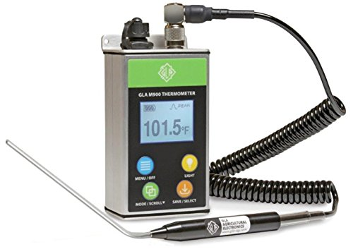 GLA M900 Veterinary Cattle Rectal Thermometer Smaller, Lighter. Fast, Accurate Temps in 8-15 Secs. Big, Back-Lit LCD. Rechargeable. Built for Dairies & Feedlots. (Angled, 4.0 ()