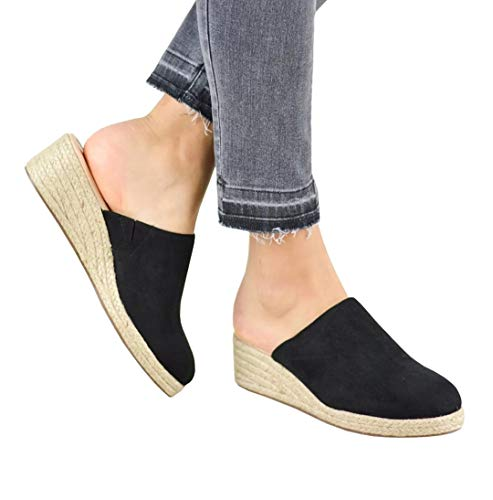 (Womens Closed Toe Espadrille Wedges Mules Shoes Sandals Slip On Backless Slides Loafers Black)