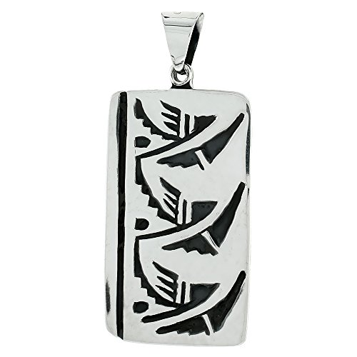 Sterling Silver Dog Tag with Aztec Design, 1 5/8 inch