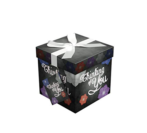 Gift Box 4x4 Amrita Think Gift Box Pop Up in Seconds Comes with Decorative Ribbon Mounted on The Lid a Gift Tag and Tissue Paper - No Glue or Tape Required by EndlessArtUS
