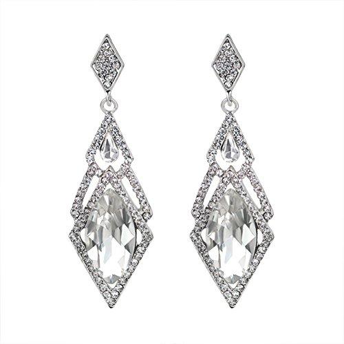 [ER-06109C1 Diamond Braid Crystal Women Earring] (Guys Hip Hop Dance Costumes)