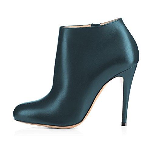 Fsj Femmes Mode Amande Orteils Stiletto Talons Cheville Bottillons Confortables Chaussures Avec Fermeture À Glissière Latérale Taille 4-15 Us Foncé Cyan