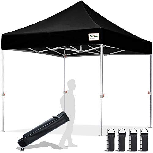 EliteShade 10'x10' Commercial Ez Pop Up Canopy Tent Instant Canopy Party Tent Sun Shelter with Heavy Duty Roller Bag,Bonus 4 Weight Bags,Black