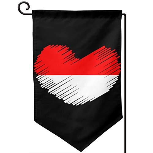Indonesia Flag IN HEART SHAPE Printed Outdoor/Home Demonstration Flag Festival Garden Flag 12.5