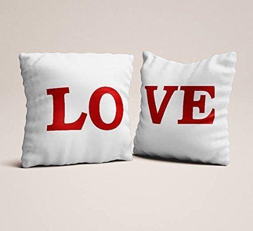 Set of 2 love red white pillowcases,Throw pillowcases, couples gift for engagements love seat pillow case wedding gift modern throw pillow - Selenas Album New