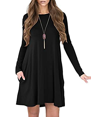 Jouica Women's V-Neck Pockets Casual Swing Loose T-shirt Dress