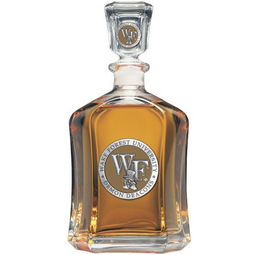 Team Color Logo Wake Forest Demon Deacons Decanter Glass Bottle