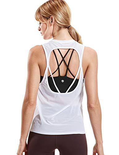 CRZ YOGA Women's Mesh Open Back Moisture Wicking See Through Sports Shirts Tank Top White S(4/6) ()
