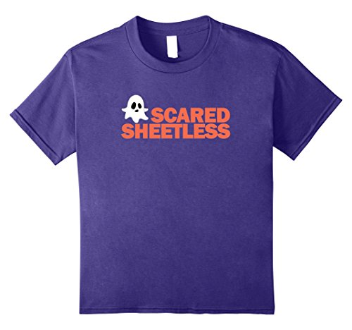 Kids Funny Halloween Ghost T-Shirt - Ghosts Scared Sheetless Puns 8 Purple