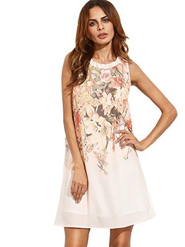 Floerns Women's Summer Sleeveless Sundress Chiffon Beach Floral Casual Tunic Dress Beige S
