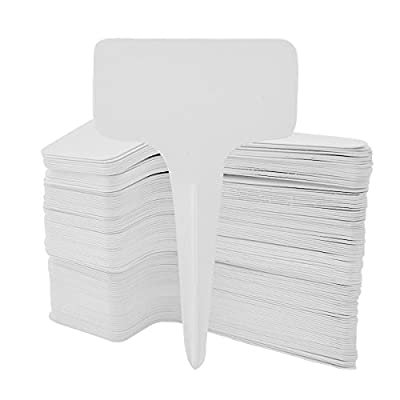 100pcs Garden Plant T-type Tags, Marrywindix 6 x10cm White Plastic Plant T-type Tags Markers Nursery Garden Labels