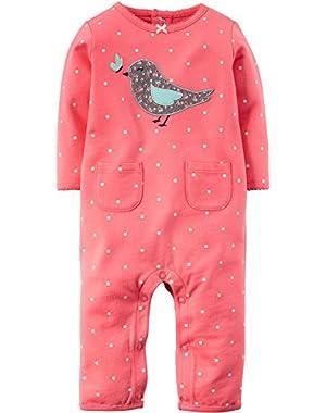 Carters Baby Girls Polka Dot Bird Jumpsuit