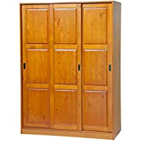 100% Solid Wood 3-Sliding Door Wardrobe/Armoire/Closet/Mudroom Storage by Palace Imports 5674 Honey Pine, 52w x 72h x 22.5d. 1 Large/4 Small Shelves, 1 Rod Included. Extra Shelves Sold Separately.