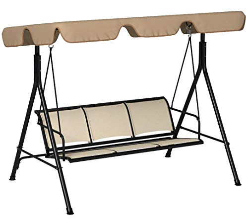 T 3 Person Patio Swing Glider Outdoor Swing Hammock Glider Chair (Brown)
